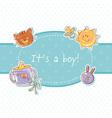 Baby born sweet boy congratulation postcard vector image