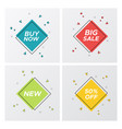 4 square geometric sale tags in pastel colors vector image