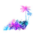 abstract painted splash shape with palm vector image vector image