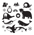Arctic Animals Silhouette Set vector image