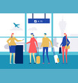 at airport - flat design style colorful vector image