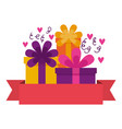 birthday celebration gift boxes ribbon vector image