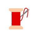 bobbin with red needle thread icon flat vector image vector image
