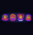 burger cafe set of neon signs fastfood burger vector image vector image