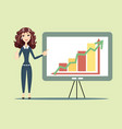 business woman standing with strategy presentation vector image