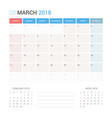 calendar planner for march 2018 vector image vector image