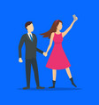 cartoon characters people takes selfie concept vector image