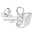 cartoon timid man on interview or employee vector image