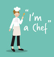 chef character with spoon on green background vector image vector image