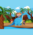 children playing with dinosaur vector image vector image