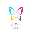 CMYK butterfly logo template vector image vector image