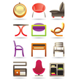 Contemporary home furniture icons set vector image