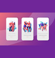 couple dance together mobile app page screen set vector image vector image
