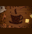 cup of coffee with coffee beans on wooden table vector image vector image