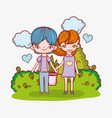 cute couple with clouds and hearts in the bushes vector image vector image