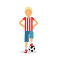 cute teenager boy in sports uniform standing with vector image vector image