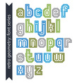 Double lines acute-angled geometric font with vector image