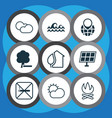 ecology icons set with cloudy weather water vector image vector image