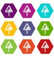 falling rocks warning traffic sign icon set color vector image vector image
