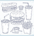 fast food doodle set hamburger hot dog drinks vector image