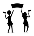 female demonstrations silhouette protest parade vector image