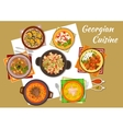 Georgian cuisine traditional rustic dinner icon vector image vector image