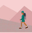 girl woman hiking backpack character vector image