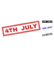 grunge 4th july textured rectangle watermarks vector image vector image