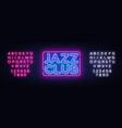 jazz club neon sign jazz music design vector image vector image