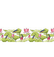kingfisher sitting on lotus flowers border vector image vector image