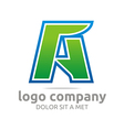 letter a alphabet green company symbol icon vector image