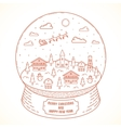 Line Style Christmas and New Year Snowball Town vector image vector image