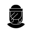 medical face shield black glyph icon vector image