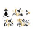 meow power cat lover cat power handwritten vector image vector image