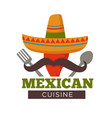 mexican cuisine themed red hot chili pepper in a vector image