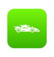 racing car icon green vector image vector image