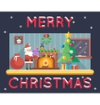 Room Cristmas New Year Santa Claus Icons Greeting vector image vector image