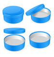 round blue hat box open and closed empty carton vector image
