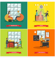 set of college posters in flat style vector image vector image