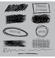set of grunge pencil pen-like strokes vector image