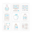 set of healthcare or medicine icons and concepts vector image vector image
