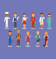 set of profession in flat simple style vector image