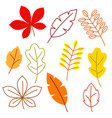 set of stylized autumn foliage falling leaves in vector image