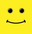smile emoticon on yellow background vector image vector image