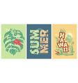 summer tee shirts prints with hawaii motives vector image vector image