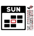 Sunday Calendar Grid Flat Icon With Bonus vector image