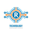 technology letter r - logo template concept vector image