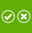 tick and cross selection icon green vector image vector image