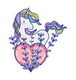 unicorn hairstyle with heart and branches leaves vector image vector image