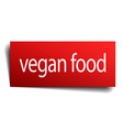 vegan food red paper sign on white background vector image vector image